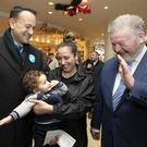 Young voter: Taoiseach Leo Varadkar meets 11- month-old Youness and his mother Iman Didi while canvassing at The Pavilions Shopping Centre in Swords with Fine Gael by-election candidate Senator James Reilly. Photo: Colin Keegan
