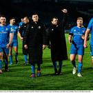 Leinster players leave the field following victory