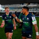 Conor Fitzgerald, left, and Bundee Aki of Connacht following the win