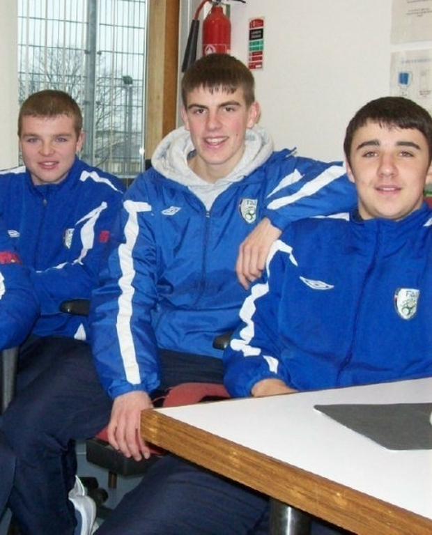Enda Stevens (right) in the classroom alongside Daniel Langan and Kevin Dawson.