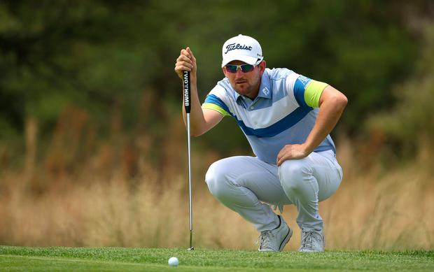 Bernd Wiesberger putts on the 14th green during the fourth round of the Nedbank Golf Challenge. Photo: Jan Kruger/Getty Images