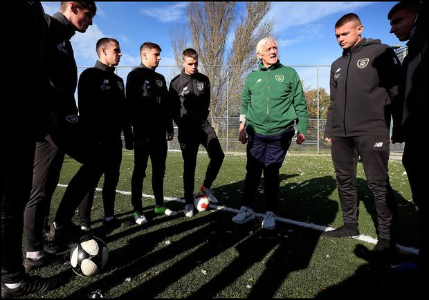 COACHING: Harry McCue, Project Leader and Co-ordinator of ETB FAI Player Development Course at Cabra Parkside Community Sports Centre. Photo: Steve Humphreys