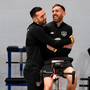 OLD PALS: Shane Duffy (l) hugs the injured Richard Keogh in the gym. Photo by Stephen McCarthy/Sportsfile