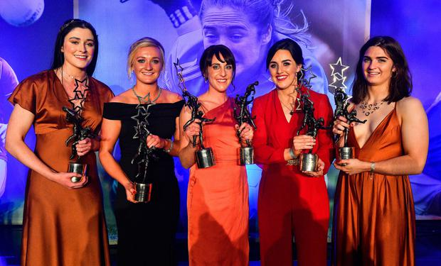 Dublin footballers, from left, Olwen Carey, Carla Rowe, Siobhan McGrath, Lyndsey Davey and Niamh Collins with their TG4 All-Star awards at the All-Ireland Ladies Football All-Stars banquet, in association with Lidl, at the CityWest Hotel, Dublin. Photo: Brendan Moran/Sportsfile