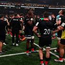 Saracens players dejected after defeat