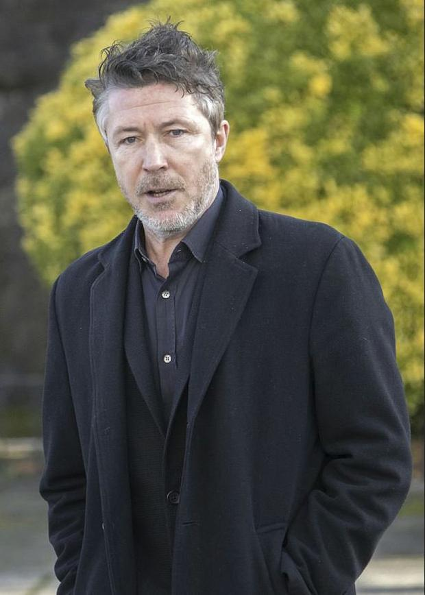 Actor Aidan Gillen pictured this afternoon at the funeral of Níall Tóibín at the Church of St. Paul of the Cross, Mount Argus.. Picture Colin Keegan, Collins Dublin