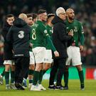 Soccer Football - Euro 2020 Qualifier - Group D - Republic of Ireland v Denmark - Aviva Stadium, Dublin, Ireland - November 18, 2019 Republic of Ireland manager Mick McCarthy shakes hands with David McGoldrick as Conor Hourihane applauds the fans after the match Action Images via Reuters/John Sibley