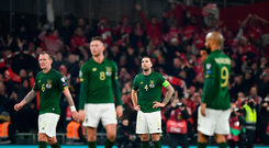 18 November 2019; Republic of Ireland players, including Shane Duffy, centre, react after conceding a goal during the UEFA EURO2020 Qualifier match between Republic of Ireland and Denmark at the Aviva Stadium in Dublin. Photo by Seb Daly/Sportsfile