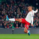 Killer blow: Denmark's Martin Braithwaite puts his side ahead during the 1-1 draw with Ireland at the Aviva Stadium. Photo: Catherine Ivill/Getty Images