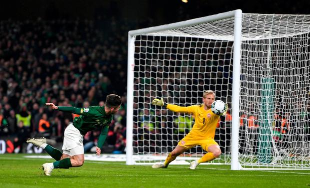 Sean Maguire has a shot saved by Kasper Schmeichel late into the game. Photo: Harry Murphy/Sportsfile