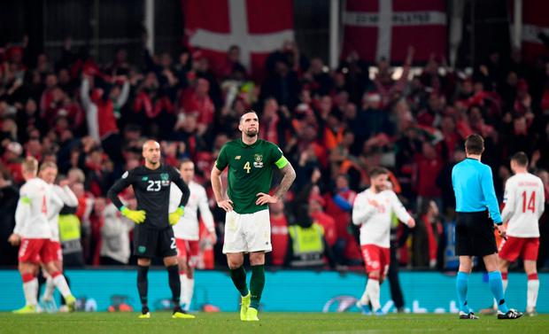 Shane Duffy reacts after Ireland went behind to Denmark. Photo: Stephen McCarthy/Sportsfile