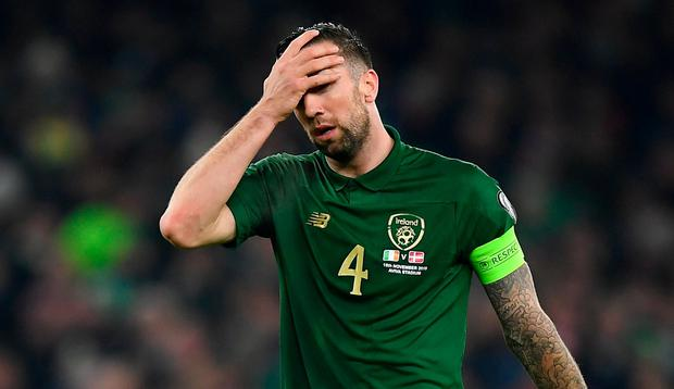 Captain Shane Duffy reacts at the final whistle at the Aviva. Photo: Seb Daly/Sportsfile