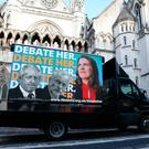 An advertising van showing Prime Minister Boris Johnson, Labour Party leader Jeremy Corbyn and Liberal Democrat leader Jo Swinson, outside the Royal Courts of Justice, London, where the Liberal Democrat party are challenging ITV over the broadcaster's exclusion of their leader Jo Swinson from a televised debate. Photo: Isabel Infantes/PA Wire