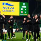 18 November 2019; Republic of Ireland players after the UEFA EURO2020 Qualifier match between Republic of Ireland and Denmark at the Aviva Stadium in Dublin. Photo by Stephen McCarthy/Sportsfile