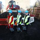(L to R) Cllr Alison Gilliland, Chair of the Housing Committee on Dublin City Council and Damien English TD, Minister of State for Housing and Urban Development Pat Doyle, CEO, Peter McVerry Trust at 26 New Street South, Dublin 8 for Peter McVerry Trust Social Housing Sod Turning on eight new social housing units. Photo:Leah Farrell/Rollingnews.ie