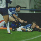 Denis Hickie celebrates scoring the winning try in Leinster's first-ever victory in France, against Clermont in 2002. Picture credit; Damien Eagers / SPORTSFILE *EDI*