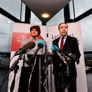 The Democratic Unionist Party's leader and the leader in the House of Commons, Arlene Foster and Nigel Dodds, launch a policy statement ahead of Britain's general election. Photo by Charles McQuillan/Getty Images