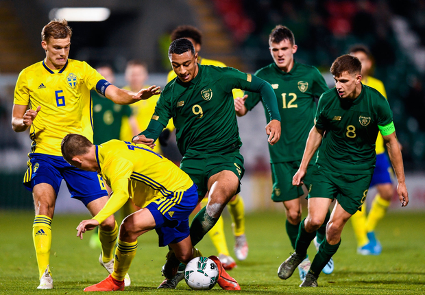 Adam Idah of Republic of Ireland in action against John Bjorkengren of Sweden during the UEFA European U21 Championship Qualifier match between Republic of Ireland and Sweden at Tallaght Stadium in Tallaght, Dublin. Photo by Eóin Noonan/Sportsfile