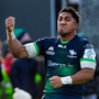 Bundee Aki celebrates after a Connacht try against Montpellier. Photo by Ramsey Cardy/Sportsfile
