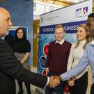 Waterford welcome: Gabriel Makhlouf meets School of Business student Afees Babatunde. Photo: Patrick Browne