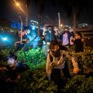 No way out: Police arrest protesters and students after they tried to flee the Hong Kong Polytechnic University campus. Photo: Getty Images