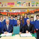 Pictured l-r, Minister of Communications, Climate Action & Environment, Richard Bruton TD; An Taoiseach, Leo Varadkar TD and David McCourt at St. Kevins National School, Brockagh, Ballard, Co Wicklow. Photo: Julien Behal