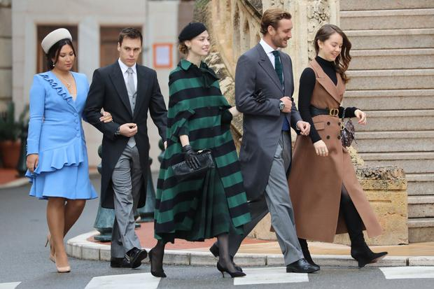 (From L) Marie Chevallier, Louis Ducruet, Pierre Casiraghi, his wife Beatrice Borromeo and Princess Alexandra of Hanover arrive to attend a mass at Monaco Cathedral during the celebrations marking Monaco's National Day in Monaco, on November 19, 2019. (Photo by VALERY HACHE / AFP)