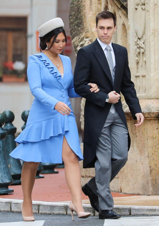 Louis Ducruet (R) and his wife Marie Chevallier arrive to attend a mass at Monaco Cathedral during the celebrations marking Monaco's National Day in Monaco, on November 19, 2019. (Photo by VALERY HACHE / AFP)
