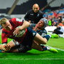 Keith Earls dots down for Munster against Ospreys at the Liberty Stadium last Saturday – supporters in Thomond will be hoping for more of the same tomorrow. Photo: Sportsfile