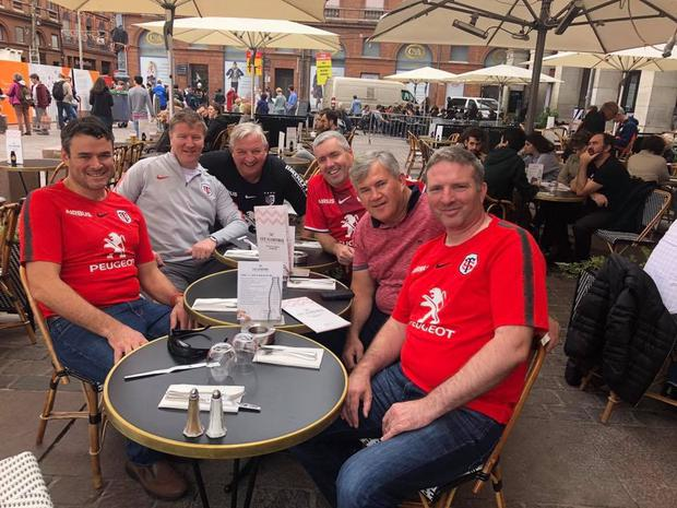 President Dan Murphy (third from left) on an away day in Toulouse with senior coaching staff