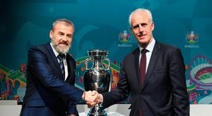 Ireland manager Mick McCarthy, right, and Slovakia manager Pavel Hapal