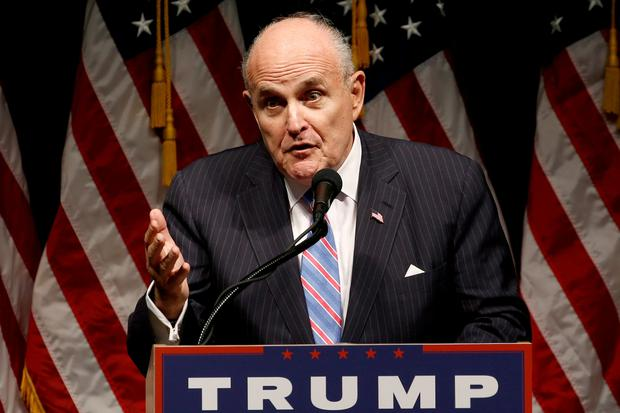 FILE PHOTO: Rudy Giuliani delivers remarks before Donald Trump rallies with supporters in Council Bluffs, Iowa, U.S., September 28, 2016. REUTERS/Jonathan Ernst/File Photo
