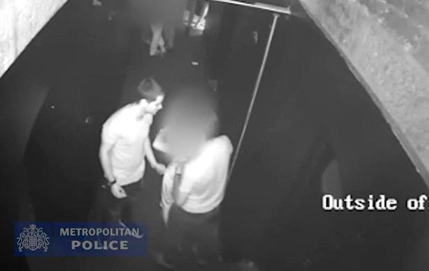 Handout grab from CCTV issued by the Metropolitan Police of Ferdinando Orlando and Lorenzo Costanzo standing either side of the victim and escorting her out of a maintenance room in the Toy Rooms nightclub in London after raping the 23-year-old in the nightclub in Soho in 2017.Photo: Metropolitan Police/PA Wire