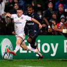 Ulster Rugby's John Cooney goes over to score his sides second try during the Heineken Champions Cup Round 2 match at the Kingspan Stadium, Belfast. Photo credit: Brian Lawless/PA Wire.