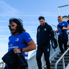 22 November 2019; James Lowe, left, and Robbie Henshaw of Leinster on their arrival in Lyon-Saint Exupéry Airport ahead of their Heineken Champions Cup match against Lyon on Saturday. Photo by Ramsey Cardy/Sportsfile