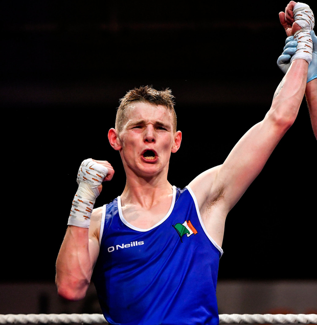Brandon McCarthy of St Michael's Athy, Co Kildare, celebrates beating Barry McReynolds of Holy Trinity, Co Antrim, in their 60kg bout during the IABA Irish National Elite Boxing Championships Finals at the National Stadium in Dublin. Photo: Piaras Ó Mídheach/Sportsfile