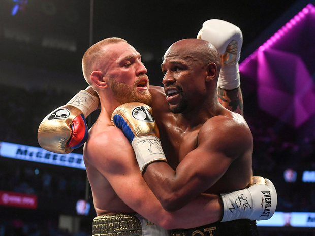 Floyd Maymeather Jnr in action against Conor McGregor. Photo: Stephen McCarthy/Sportsfile