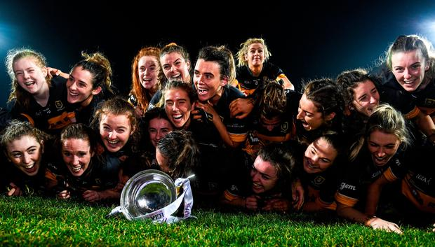 23 November 2019; Mourneabbey players celebrate with the Dolores Tyrrell Memorial Cup following the All-Ireland Ladies Senior Club Championship Final match between Kilkerrin-Clonberne and Mourneabbey at LIT Gaelic Grounds in Limerick. Photo by Eóin Noonan/Sportsfile