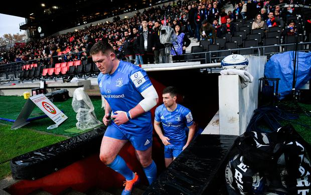 Rugby Tadhg Furlong of Leinster runs out prior to the match against Lyon