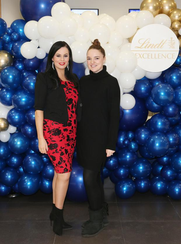 Audrey McGrath and Niamh McManus pictured at the special Lindt movie screening at Odeon Point Village. Picture: Leon Farrell/Photocall Ireland
