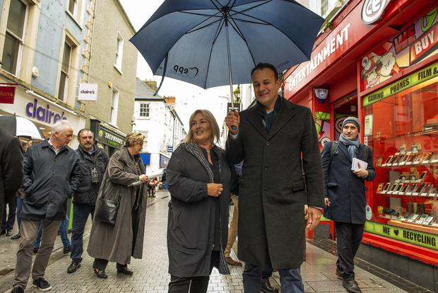 Canvass: Taoiseach Leo Varadkar and candidate Verona Murphy on Wexford Main Street. Photo: Douglas O'Connor