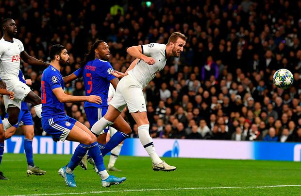 Harry Kane heads home Tottenham's fourth goal in last night's Champions League win over Olympiacos. Photo: Justin Setterfield/Getty Images
