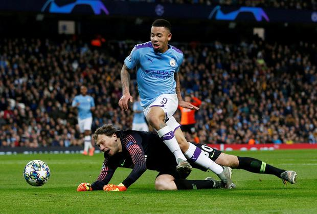Manchester City's Gabriel Jesus in action with Shakhtar Donetsk's Andriy Pyatov