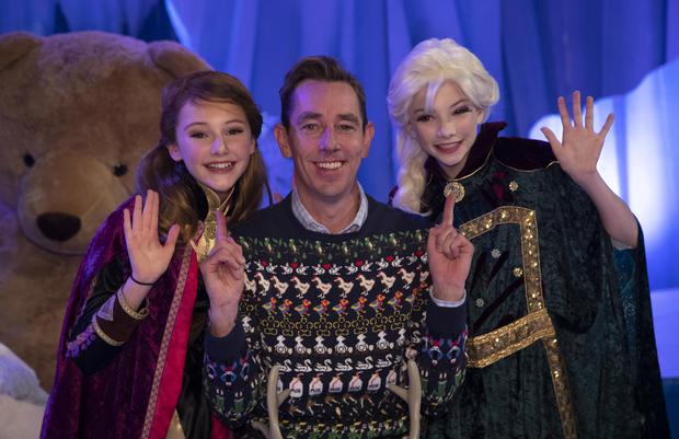 28/11/'19 Ryan Tubridy pictured with Clio Griffin (13) from Nenagh, left and Anna Kearney (13) from Foxrock, some of the participants on the set of the Late Late Toy Show 2019 at a preview Friday's Late Late Toy Show, which will be broadcast at 9.30pm on RTE 1...Picture Colin Keegan, Collins Dublin