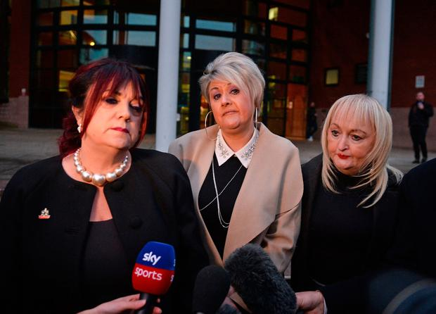 Christine Burke, Louise Brookes and Jenni Hicks speak after the verdict. Photo: Peter Powell/PA Wire