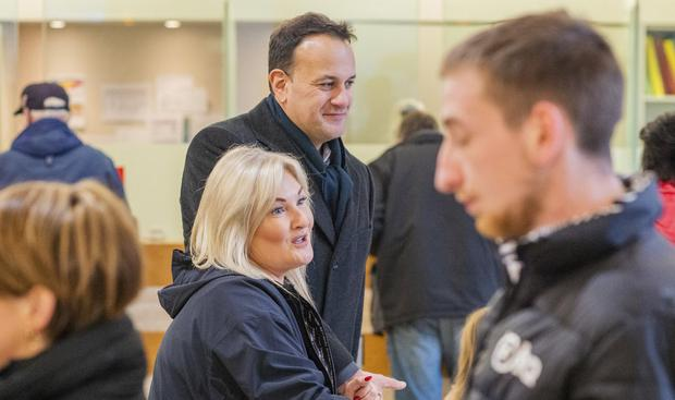 Confident: Taoiseach Leo Varadkar and candidate Verona Murphy canvas in Wexford Credit Union. Photo: Douglas O'Connor