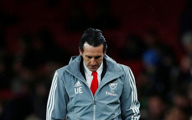 Arsenal manager Unai Emery looks dejected. Photo: Reuters