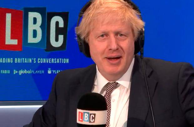 Boris Johnson taking part in a phone-in with Nick Ferrari at LBC in central London Photo credit: LBC/PA Wire