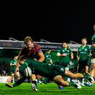 John Porch of Connacht scores his side's third try during the Guinness PRO14 win over Southern Kings at The Sportsground in Galway. Photo: Eóin Noonan/Sportsfile
