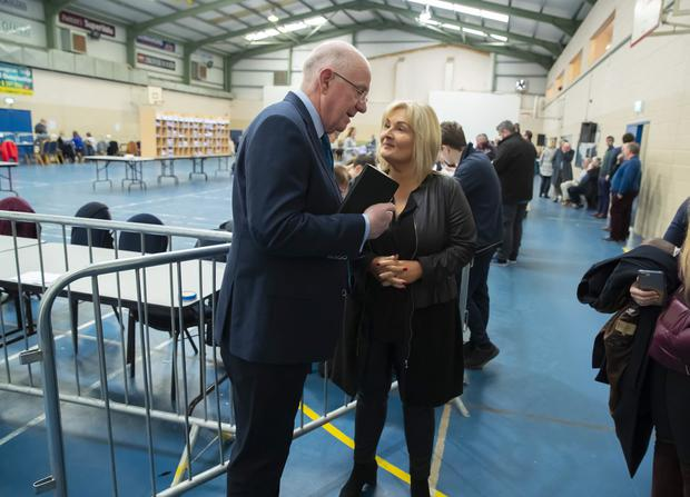 Wipeout: Verona Murphy and Justice Minister Charlie Flanagan at the count centre, in Wexford Town. Photo: Patrick Browne